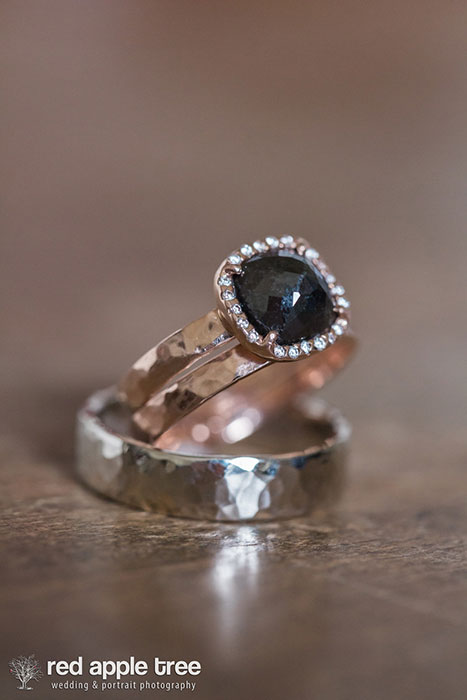 14k rose gold & white gold and 2 ct. Black diamond 3/4 x 1 inches