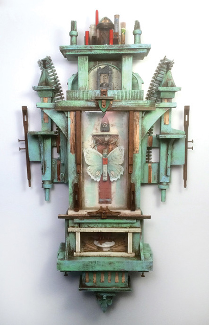 Mixed media assemblage 23 x 14 inches