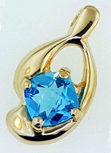14k gold & blue topaz 1 x 1/2 inch